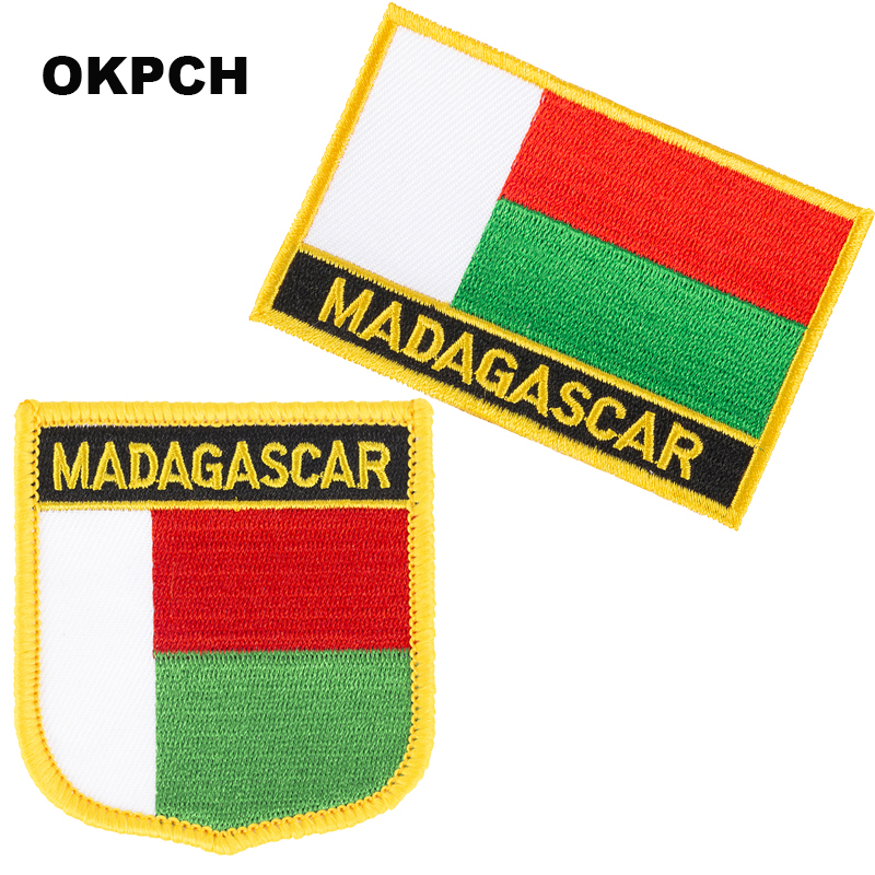 Madagascar Flag patches embroidered flag patches national flag patches Patches for Clothes DIY Decoration PT0110-2