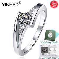 Sent Silver Certificate! YINHED 100% 925 Sterling Silver Engagement Rings for Women 0.5ct Zircon CZ Diamant Solitaire Ring ZR551