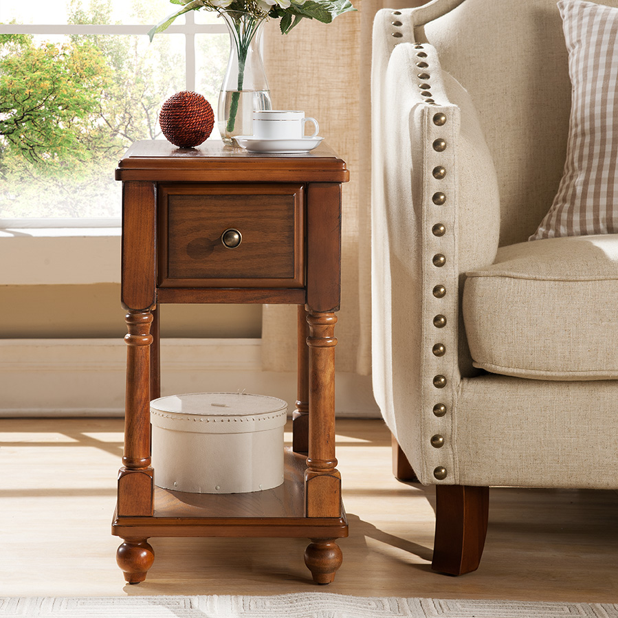 European And American Style Solid Wood Side Table Small