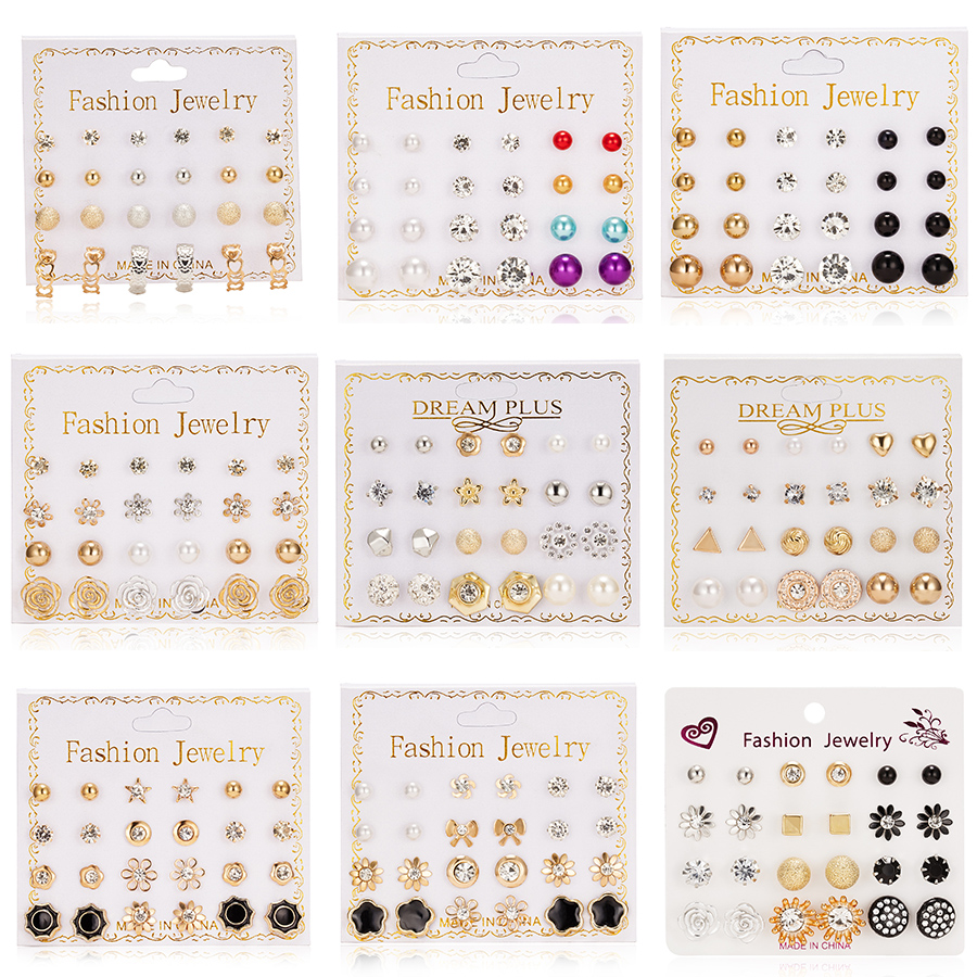 12 Pairs/set Stud Earrings Set With Card Transparent Zircon Balls Love Flowers Earrings Women Imulated Pearl Earrings Jewelry image