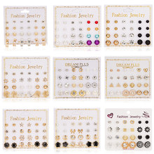 12 Pairs/set Stud Earrings Set With Card Transparent Zircon Balls Love Flowers Earrings Women Imulated Pearl Earrings Jewelry(China)