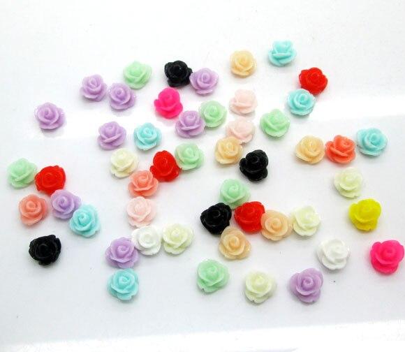 50Pcs 7mm Mixed Resin Flower Decoration Crafts Kawaii Bead Flatback Cabochon Fridge Magnet Scrapbook DIY Accessories Buttons