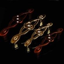 128mm european creative rhinestone furniture handle bronze drawer cabinet pulls knobs gold crystal wine cabinet  dresser handles