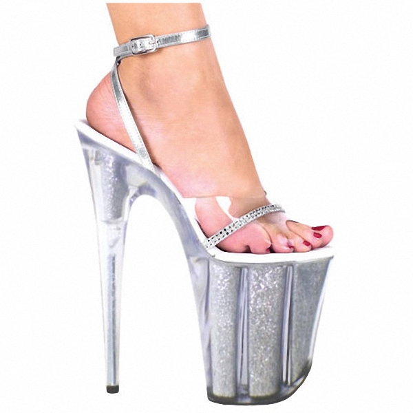 ФОТО Plus Size 20CM Sexy Super High Heel Platform Crystal shoes 8 inch clear fashion shoes sandals for women sexy clubbing high heels
