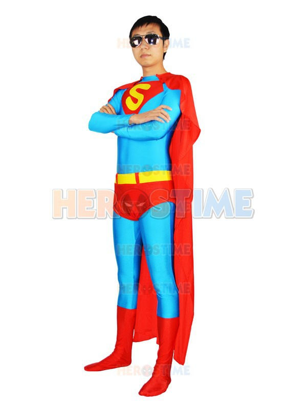 Blue Superman Costume Spandex full body zentai suit halloween cosplay superhero costumes hot sale free shipping