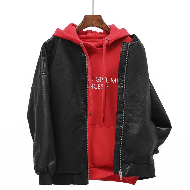 D'hiver Streetwear Veste J456 Grande Outwear De Taille Black 2018 Manteau En pink Pu Cuir Et Automne Lâche Femelle Spliced Femmes EwY1xgq