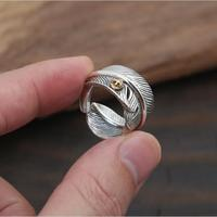 100 Pure Sterling Silver 925 Mens Ring Thick Band Designer Feather Cuff Ring Assia Top Trendy