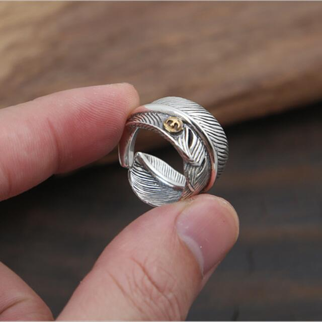 Designer Mens Ring | 100 Pure 925 Sterling Silver Mens Ring Thick Band Designer Feather