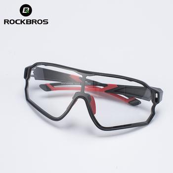 ROCKBROS kolarstwo okulary fotochromowe UV400 sportowe okulary przeciwsłoneczne dla mężczyzn kobiety jazdy bieganie Anti Glare lekkie okulary rowerowe tanie i dobre opinie Photochromic UV400 53 mm 10135 Black 137 4 mm Z tworzywa sztucznego Unisex Octan Jazda na rowerze