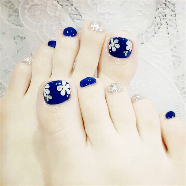 New Fashion Blue Flower Toe Nail Sticker Decal Water Transfer Toenail Art Decals Diy