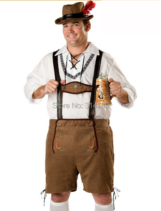 German Beer Okotoberfest Bavarian guy Mens Lederhosen Adult Halloween costumes Fancy dress Outfit