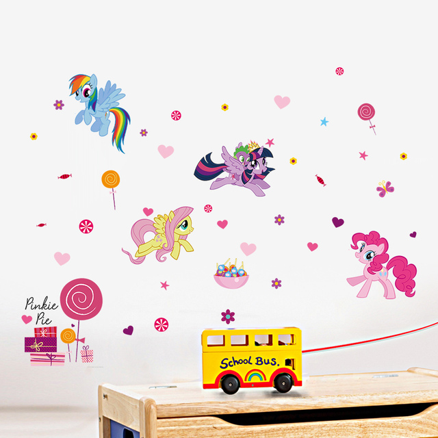 My Little Pony Wall Decals For Kids Room Decoratiive Stickers Animals  Cartoon Home Art Peel U0026