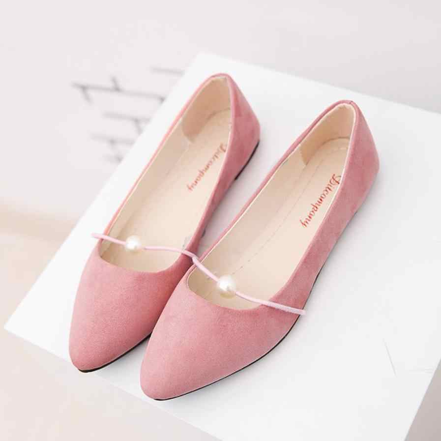 ... Sleeper  4005 Women s Solid Color Suede low Heel Pearl Pointed toe Casual  Shoes DA 868528d63
