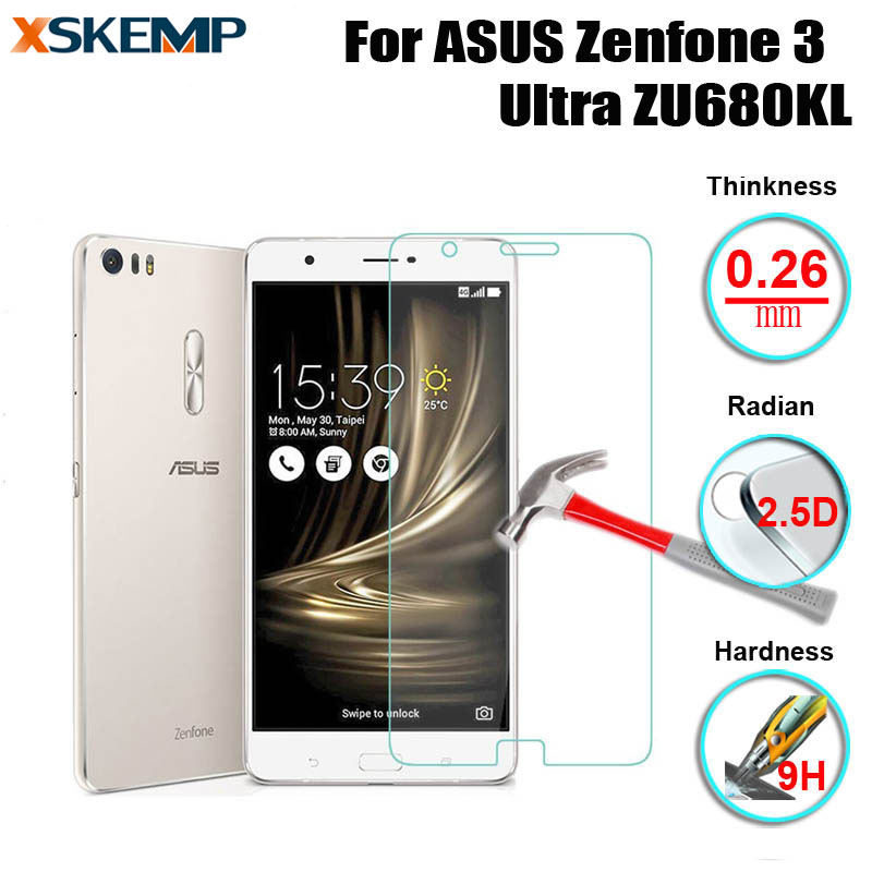 XSKEMP Ultra Clear Tempered Glass For ASUS Zenfone 3 Ultra ZU680KL 9H Explosion Proof Screen Protector Original With Clean Tools