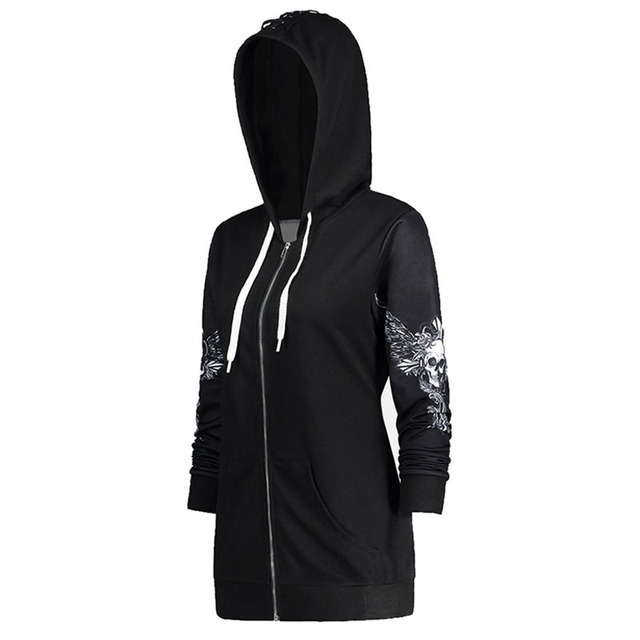 1color 5 Size Autumn Kpop Clothes Black Women Hoodies Sweatshirts Punk Long Sleeve Skull Wings Print Hooded Jacket Zipper Coat 1