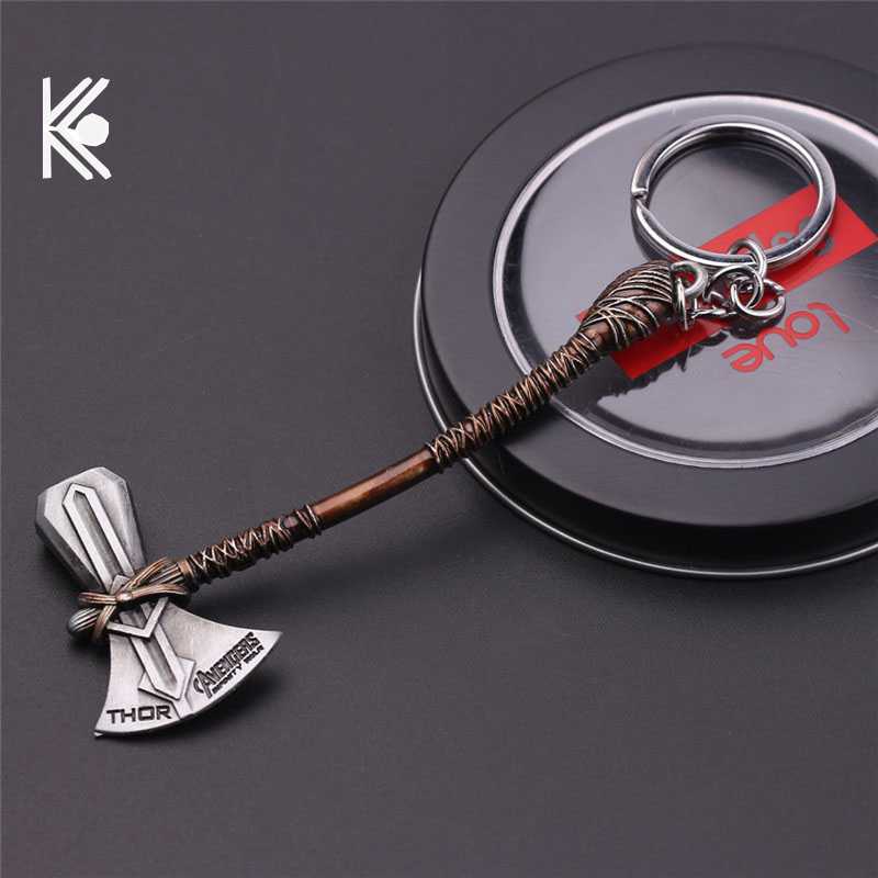 Avengers 4 Keychain Thor Axe Hammer Mjolnir Chaveiro The Dark World Key Bags Keyring Jewelry Llaveros Para Hombre Porte Cle