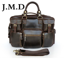 J.M.D 2017 New 100% Genuine Cow Leather Handbags Fashion Totes Travel Bags Dispatch Briefcases Shoulder Messenger Bag 7028B