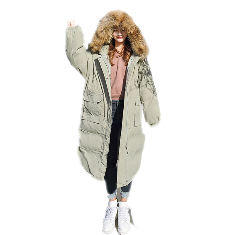 New Casual Winter Women Long Down Padded Coat Jacket 2018 Female Loose Oversize Warm Faux Fur Collar Cotton   Parkas   Outerwear B23