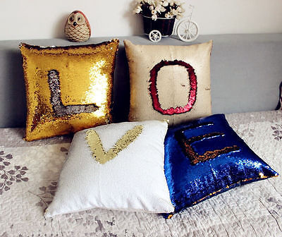 Reversible Sequin Mermaid Cushion Cover Slash Magic Throw Pillow Case Glitter Sofa Decoration