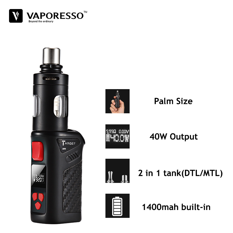 Vaporesso Target Mini Kit Vape Starter Kit Electronic Cigarette With 2ML Guardian Tank and 40W TC Mod 1400 mah Built-in Battery
