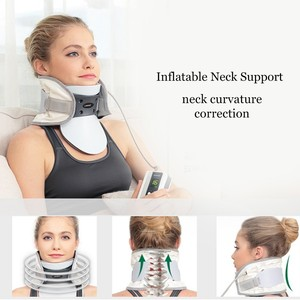 Image 4 - 2018 elétrica pescoço cervical dispositivo de tração ajustável colar inflável casa massagem spondylosis colar pendurado pescoço quadro