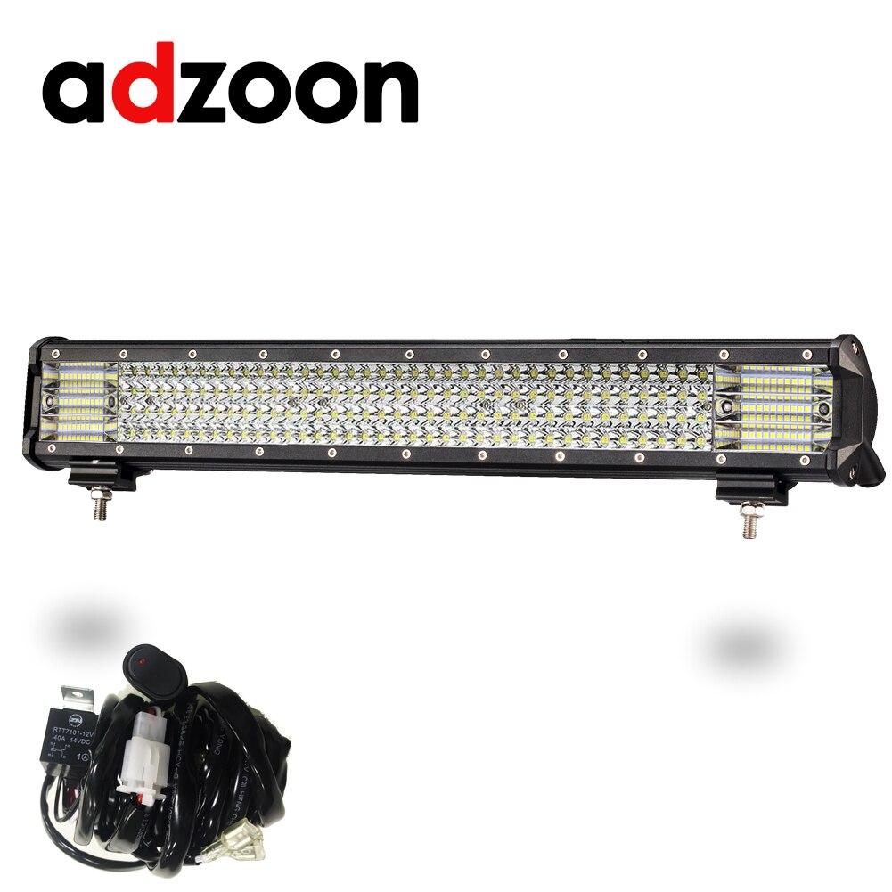 ADZOON IP67 водонепроницаемый бездорожье светодио дный свет бар 20 дюймов 480 Вт комбо луч света автомобиля для 12 В 24 В лодка автомобиль тягач внедо