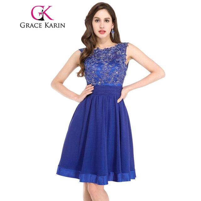 Grace karin lace cortocircuito de la gasa del azul real vestidos de coctel backless atractivo lindo party dress longitud de la rodilla gk6132