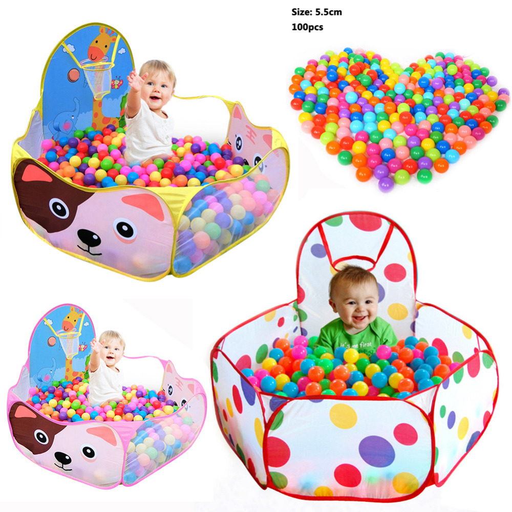Ocean Ball Pit Pool Game Arena Manege For The Baby Children Baby Boys Girls Play Tent With Basketball Hoop A Playpen For A Baby