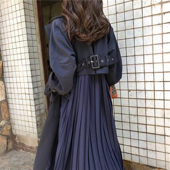 Kobiety Trench Coat długie 2019 moda plisowana szyfonowa Splice płaszcze kobiet wiosna elegancki znosić luźne duży rozmiar okopu żakiet cienkie tanie i dobre opinie QEWSDRFG Patchwork Jednego przycisku Pełna M737 Skręcić w dół kołnierz Spódnica Regulowany pas Kieszenie Suknem Pani urząd