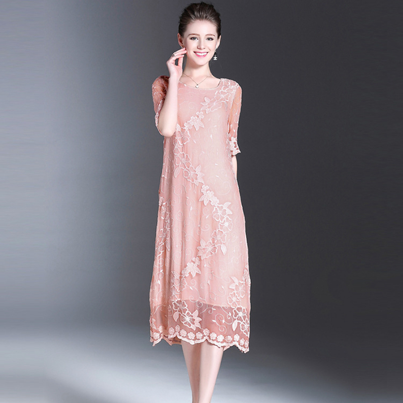 Aliexpress Com Buy New Design Simple But Elegant Short: 100%Silk Fabric Dress Plus Sizes Simple Style Embroidery