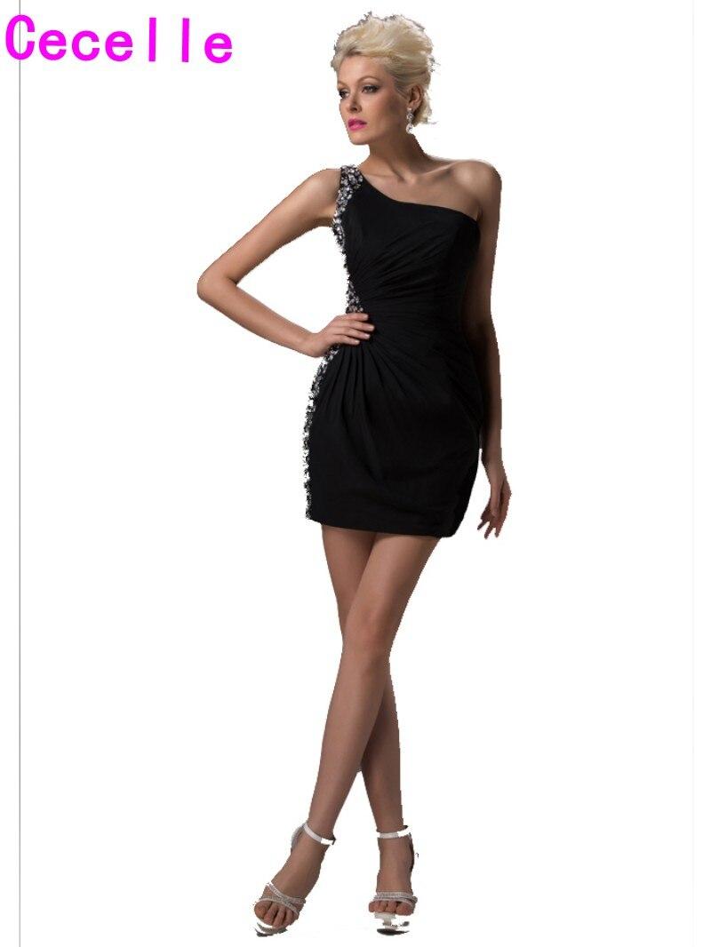 Black dress juniors - One Shoulder Little Black Cocktail Dresses One Shoulder Beaded Chiffon Mini Short Prom Dresses For Juniors