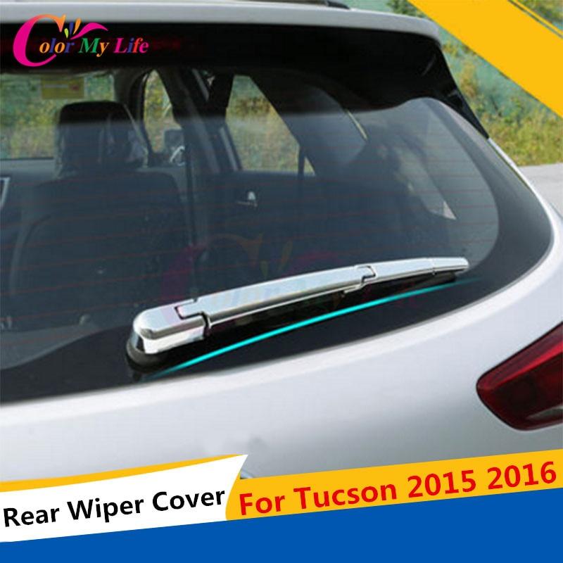 4Pcs / Set ABS Chrome Belakang Penutup Perlindungan Penutup Belakang Window Wiper Nozzle Pelekat Trim Untuk Hyundai Tucson 2015 2016 Aksesori