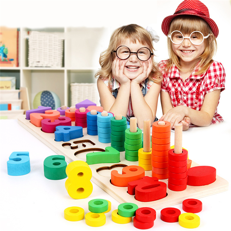 New Children Wooden Montessori Materials Learning Count Numbers Matching Digital Shape Match Early Education Teaching Math Toy