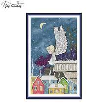 Joy Sunday Night Snow Angel Cross Stitch Embroidery Kit 14ct 11ct Counted Printed Canvas DMC DIY Needlwork Aida Cloth Home Decor