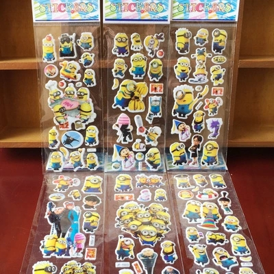 % 12 Sheets/lot 3D Cartoon Minions wall stickers Kids Toys Bubble stickers Teacher baby Gift Reward PVC Sticker Christmas gift