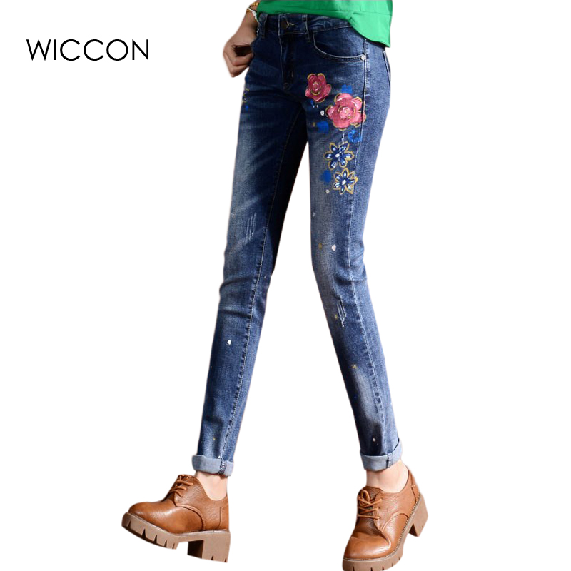 2016 New Autumn Casual Women  High Waist Stretch Jeans Fashion Scratched  Painted Flower Denim Pencil Pants women jeans autumn new fashion high waisted boyfriend street style roll up bottom casual denim long pants sp2096