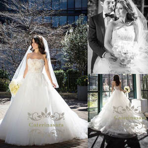 2019 Women Princess Strapless Wedding Dress Ball Gown Luxury Bride Gown Girl Bridal Party Lace Illusion Custom Made Outdoor Wear