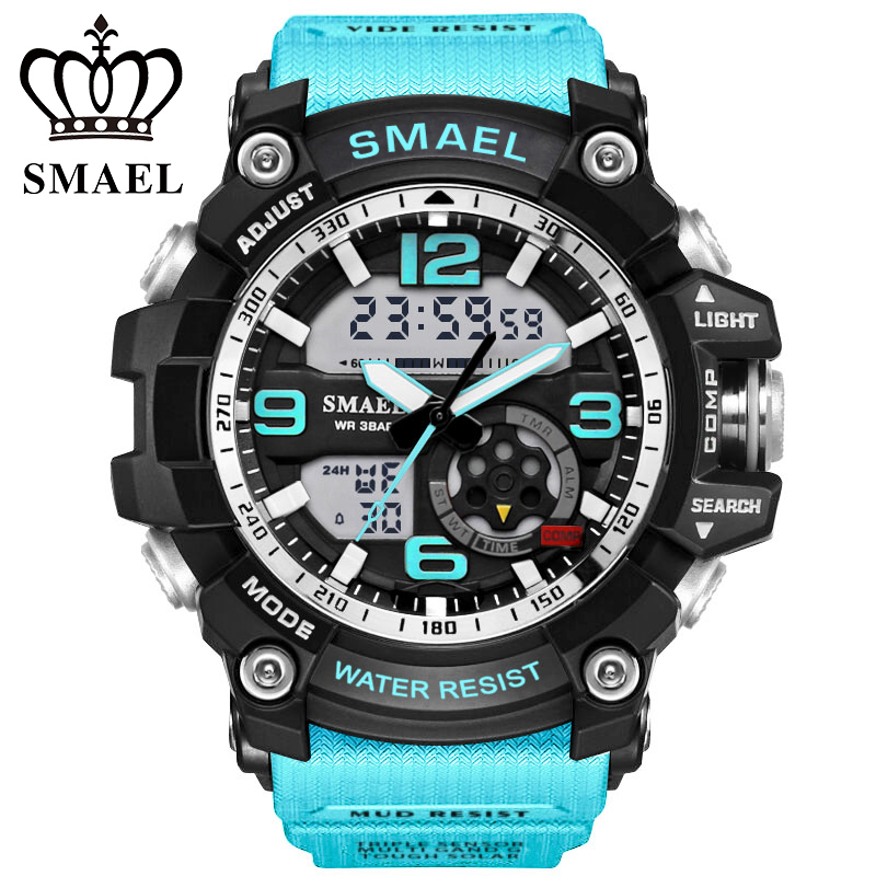 smael Sport Watch NEW Design LED Analog Digital Calendar Alarm Dual Movement Silicone Strap Men Wristwatch 1617 goblin shark sport watch 3d logo dual movement waterproof full black analog silicone strap fashion men casual wristwatch sh165