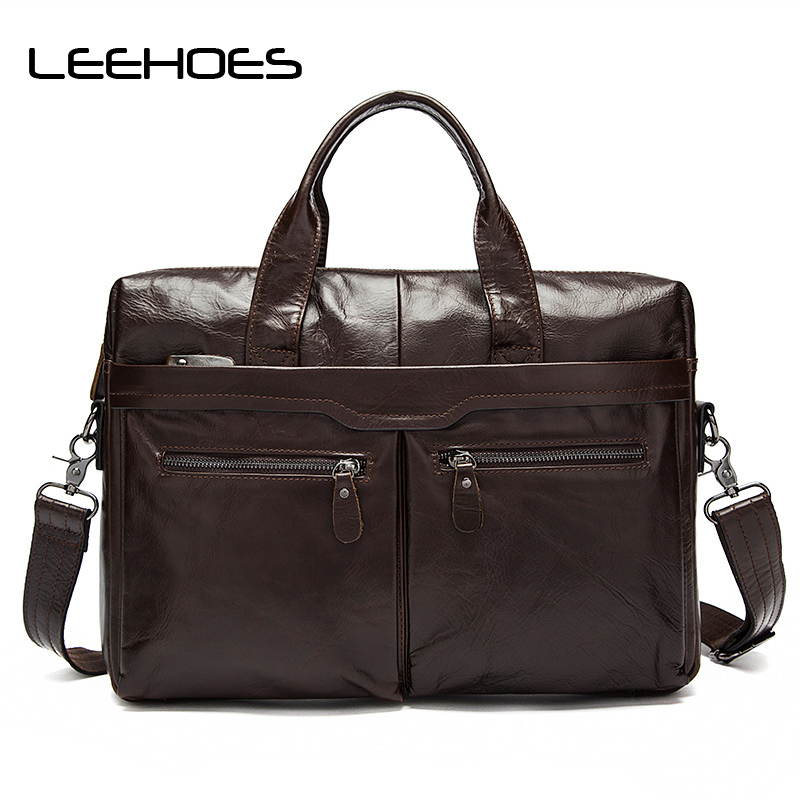 Hot Selling Computer Bag Genuine Leather Handbag Men Briefcase Business Messenger Bags Shoulder Crossbody Bags Laptop Bag Male wheelup 360 degree rotation cycling bicycle flashlight holder bike light mount