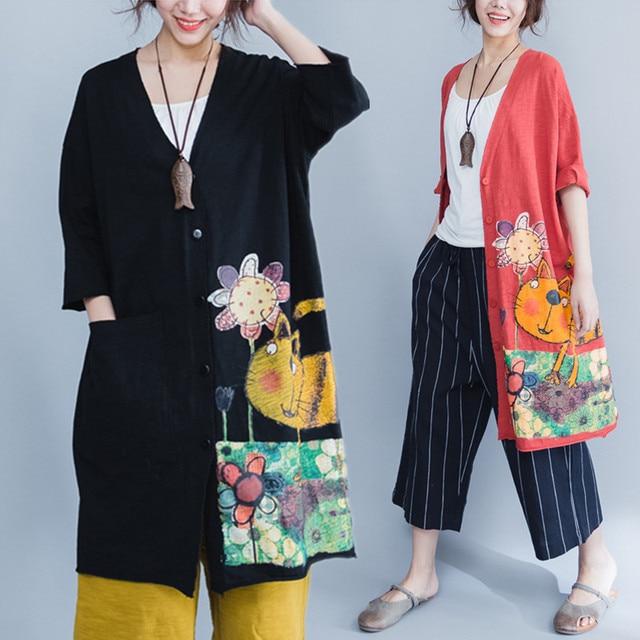Plus Size 5XL 6XL 2018 Summer Women Fashion Kawaii Cat Print Bolero Tops Ladies Female Big Cotton Outwear Cardigans Jacket Coat
