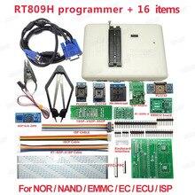 مبرمج RT809H عالمي + 16 قطعة مبرمج NAND Flahs EMMC USB + مشبك اختبار IC PLCC بجودة عالية