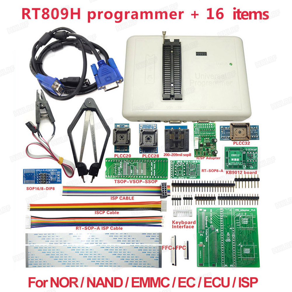 RT809H Universal Programmer + 16 Items NAND Flahs EMMC USB Programmer+PLCC IC Test clip with Top Quality-in Integrated Circuits from Electronic Components & Supplies