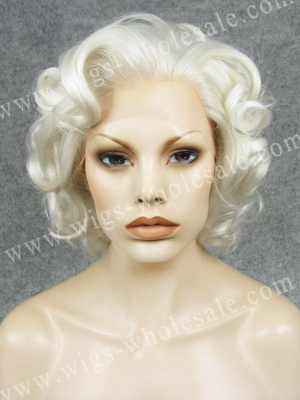 ФОТО Curly Synthetic Short Cosplay White Marilyn Monroe lace front wig