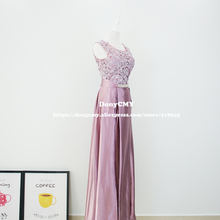 Evening dress New 2017 double-shoulder robe de soiree long lace pink color plus size formal elegant fashion Gown