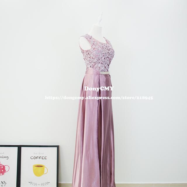 Evening dress New 2017 double-shoulder robe de soiree long lace pink color plus size formal elegant fashion Gown