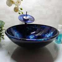 Round Bathroom Cloakroom Tempered Glass Counter Top Wash Basin Sink Washing Bowl HX008