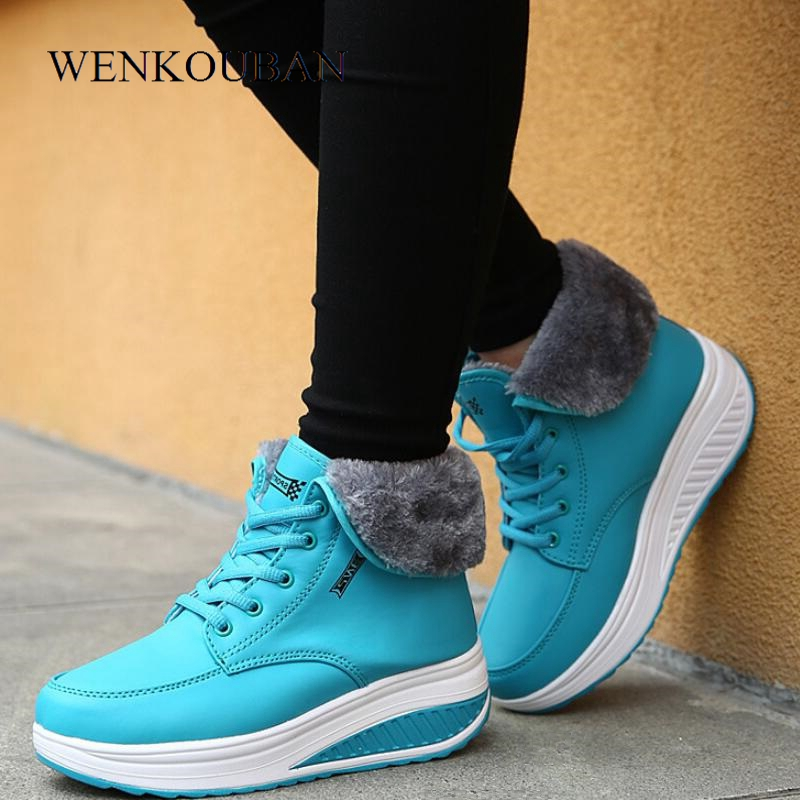 39cb9c3bd26c0 Detail Feedback Questions about Designer Winter Boots Women Wedges Platform  Sneakers Height Increasing Ladies Snow Ankle Boots Female Lace Up Fur Shoes  ...