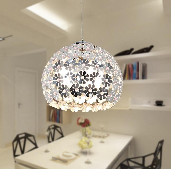 Beautiful Flower Crystal Pendant Light Modern Lighting Fixture Lustre Hanging Pendant Lamp for Dining Room Bedroom WPL034