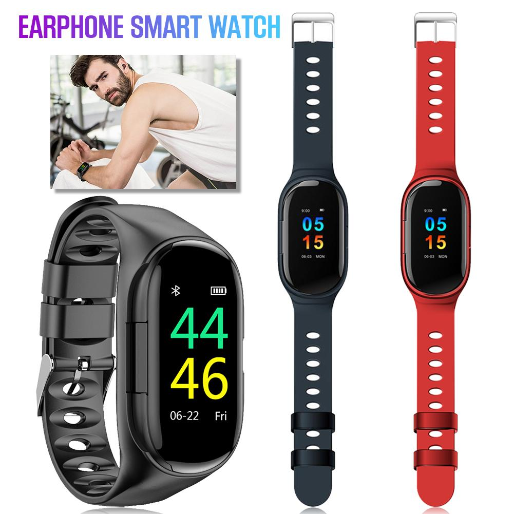 Newest Smart Watch Built in Bluetooth 5.0 Earphone Heart Rate Blood Pressure Monitoring Smart Wristband For IOS Android Unisex-in Smart Wristbands from Consumer Electronics