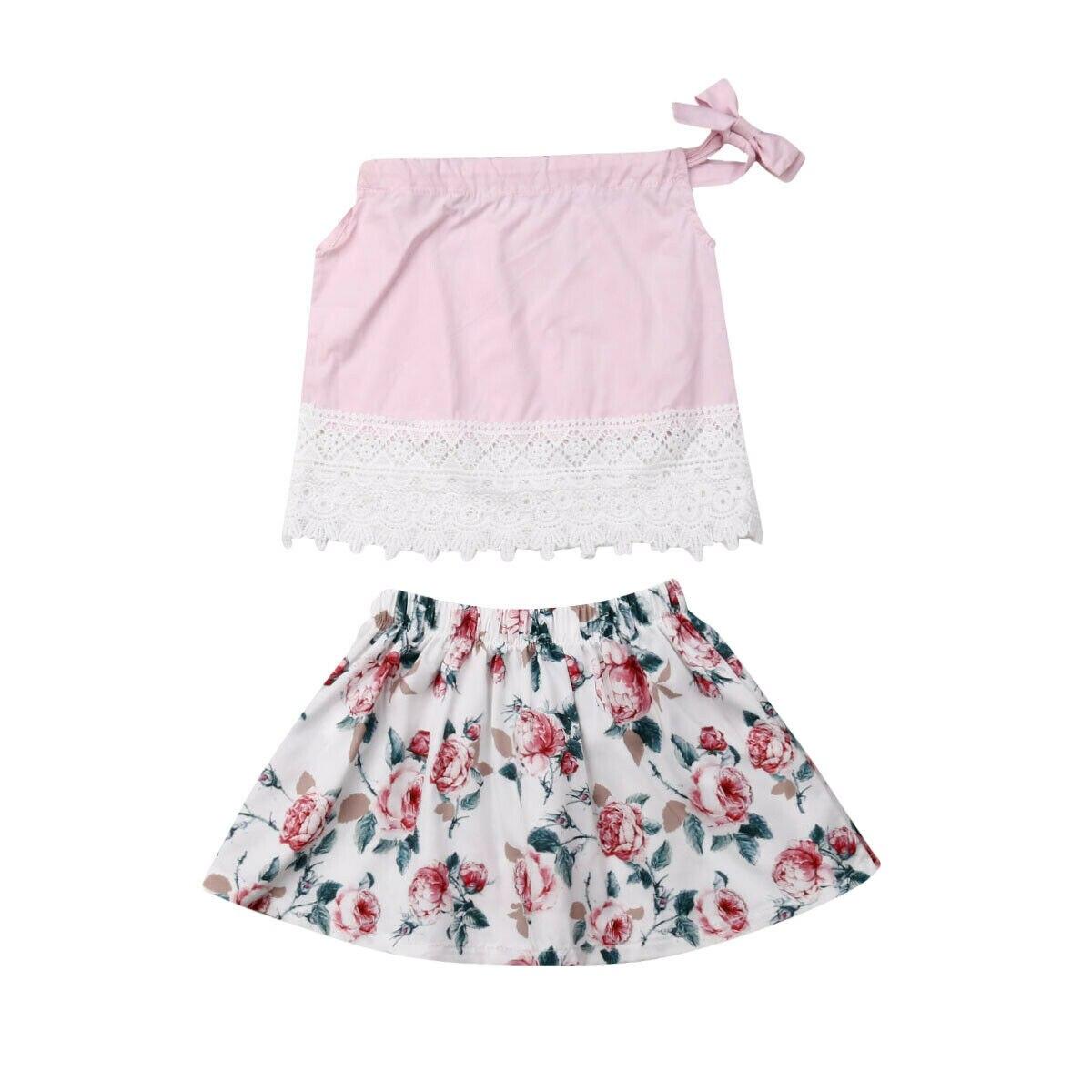 2 Pcs Set Kleinkind Kinder Baby Mädchen Ärmellose Spitze Tank Tops Blume A-linie Rock Outfits Prinzessin Mädchen Sommer Kleidung